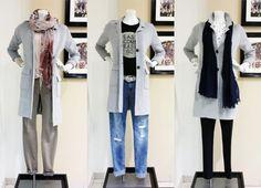 How to wear #COATIGANS: Wollmix-Coatigan im klassischen Look: s.Oliver - v.l.: graue Jeans, Blusentop mit Tunnelzug im Saum & Tuch: Marc O'Polo - Destroyed Denim & Print Shirt: s.Oliver - Gürtel: Vanzetti - schmale Hose & Bluse mit Herzchen-Print: Opus - Webschal: Street One #fashion #stylingtutorial