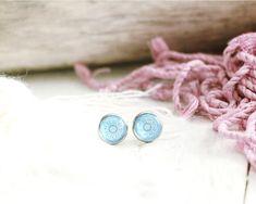 Clous d'oreilles Alhana, motif graphique, bleu ciel, socle acier inoxydable 10 mm, mille et une nuits, pour femme