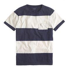 Slub jersey pocket tee in stripe