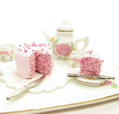 Polymer Clay Cake Pink Dollhouse Miniature with Sprinkles 1 Inch Scale | Brown Eyed Rose