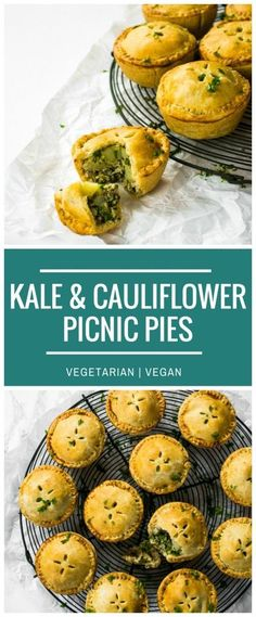 These pretty little Kale Pesto & Cauliflower Picnic Pies are perfect savoury finger food for a buffet lunch or picnic. Made from ingredients in the freezer cabinet, they are vegetarian and vegan. #Vegetariancooking