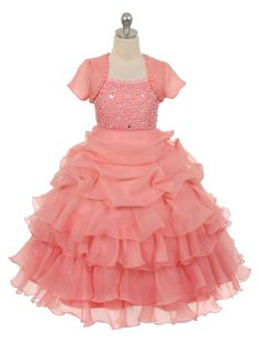 Coral Organza Pick Up Skirt Pearl Bodice Flower Girl Dress (Available in Sizes 4-16 in 4 Colors)
