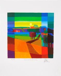 Ton Schulten Zeefdruk 'Over de heuvel, 2007' van de schilder Ton Schulten. Ton Schulten