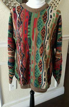 COOGI Sweater 3 D Texture Men's Size L Multi Color Red Green Tan 100% Cotton B4 #COOGI #Crewneck