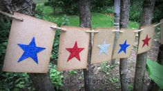 Americana - Patriotic - Glittered Star Banner - 4th of July Bunting - Star Banner - Summer Party