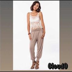 Totally Boho ~ Latte /Taupe Harem Joggers NEW Simply classic style with Bohemia flair ;)! Harem style pants with pockets. Fold down waistband . Elastic waist . Size : SMALL MEDIUM .PLEASE DO NOT PURCHASE THIS LISTING but instead comment on size & I'll create separate listing. Brand new no tags. Price FIRM UNLESS BUNDLED. ❌NO PP AND NO TRADES❌ Cloud 9 Pants Track Pants & Joggers