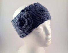 Denim Blue Flower Headband    Hand Knit Aran by SophiesKnitStuff, €16.00