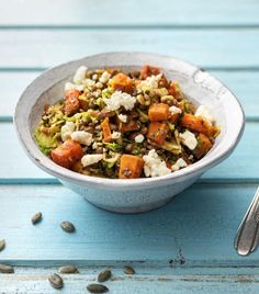 Lentil Salad with Honey-Roasted Sweet Potatoes and Brussels Sprouts ...