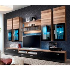 - TV Unit Models & Ideas - Presto 3 - oak sonoma matt and black gloss tv wall unit entertainment wall units