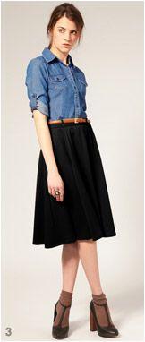 black midi, chambray shirt, brown belt, fall outfit