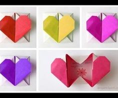 how to make simple romantic origami heart boxes DIY tutorial step by step instructions | How To