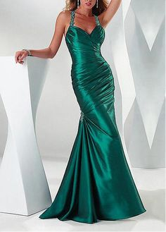 Buy discount Exquisite Stretch Satin Mermaid Halter Neckline Occasion Dress With Beads at Dressilyme.com