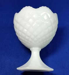 Fenton White Milk Gl Hobnail 3 Footed Egg Vase/Fenton Art Gl ... on