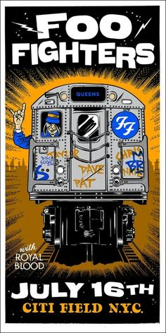 Foo Fighters July 16 - Citi Field - New York, NY Poster by Morning Breath Tour Posters, Band Posters, Music Posters, Foo Fighters Poster, Rock N Roll, Art Hippie, There Goes My Hero, Rock Y Metal, Country Girl Quotes