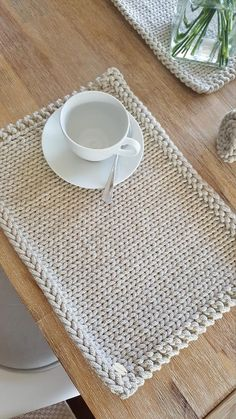 Placemats Knitted Set of 6 Placemats Cotton Knitted Placemats Table placemats Modern Placemats Dinner Mats Tischset Hand Knitting, Knitting Patterns, Crochet Patterns, Knitting Machine, Crochet Motifs, Knit Crochet, Knitting Projects, Crochet Projects, Modern Placemats