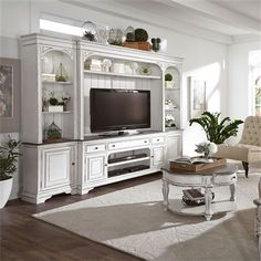 Magnolia Manor 4 Piece Entertainment Wall in Antique White Finish by Liberty Furniture - - Trend Home Entertainment 2020 Entertainment Center Furniture, Home Entertainment Centers, Entertainment Center Makeover, White Entertainment Unit, Living Room Tv, Living Room Furniture, Modern Furniture, Classic Furniture, Rustic Furniture