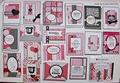 29 cards made from a 6X6 pad of paper. The best things in life are Pink.: Finished Another 6x6 Paper Pad. Web site includes a video tutorial.