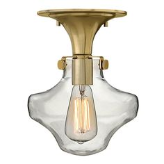 Modern Clear Schoolhouse Globe Ceiling Light - 4 Finishes
