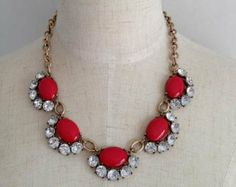 Mae Statement Necklace, Chunky Red Necklace, Beadwork Necklace