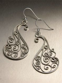 Fine silver filigree earrings by John S. Brana, part of Nob Hill Collection of Filigree Jewelry