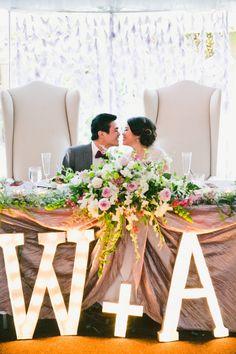 Adoring this bride & groom reception table!