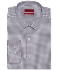 72f0df950dcaa Alfani RED Fitted Grey Mini-Gingham Performance Dress Shirt & Reviews -  Dress Shirts - Men - Macy's