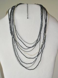 Black Beads and Chain Multi Strand Necklace Beaded Necklace Black Necklace Everyday Jewelry Fun Fashion Necklace Jewellry - pinned by pin4etsy.com