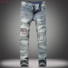 21ae0e55 2017 retro men's jeans hole patches small straight jeans fashion tide  restoring ancient ways of cultivate one's morality pants-in Jeans from Men's  Clothing ...