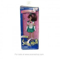Sailor Moon Doll 6 inch Sailor Jupiter Doll in Box with Wand Bandai America Open Sailor Moon Toys, Price Sticker, Dolls For Sale, Sailor Jupiter, Blue Box, Wands, 6 Inches, Childhood, Presents