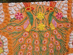 Vintage Chenille bedspread hearts peacock orange craft 96 x 102