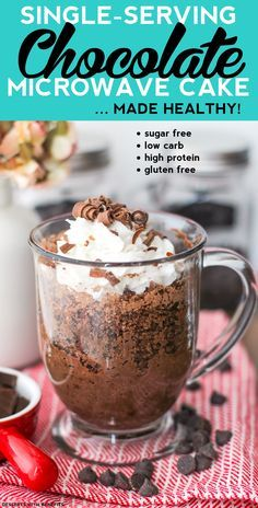 Healthy Single-Serving Chocolate Microwave Cake made in just 5 minutes flat? Oh yes (refined sugar free, low carb, high protein, gluten free, dairy free, vegan)