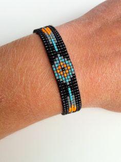 Bracelet Manchette perles tissées. Fermoir Embout Argent Massif 925. Taille ajustable. : Bracelet par verane