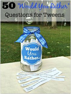 Perfect for sleepover parties- here is a free printable list of 50 Would You Rather questions for tweens!