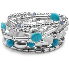 Stylish Silver And Blue Mix Bead Bracelet Pack