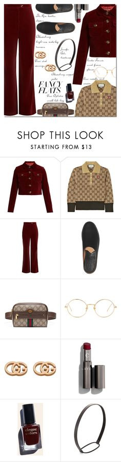 """""""Magic Slippers: Fancy Flats"""" by danielle-487 ❤ liked on Polyvore featuring AlexaChung, Gucci, The Row, Linda Farrow, Cirque Colors, Jennifer Behr and chicflats"""