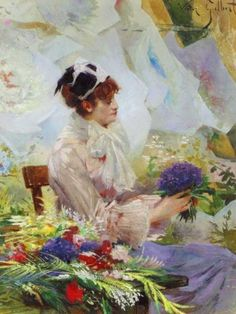 The Flower Seller ~ Victor Gabriel Gilbert ~ (French: 1847-1933)