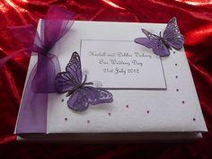 Large Personalised Wedding Photo Album Cadbury Purple Butterfly 30 colours | eBay