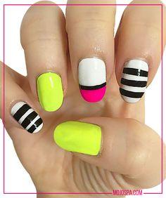Mojo Spa Fashion Wednesday #nails inspired by #fashion #nailart #stripes #neon #nails #magenta #black #white #geometric #summer #bright #fun #cute