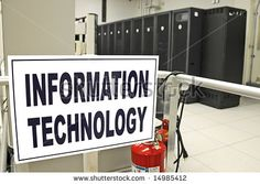 stock photo : Information Technology data center room with data racks in the background