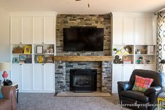 DIY Home Ideas | Looking for living room inspiration? Check out this living room makeover with DIY built-In bookshelves and stone fireplace!