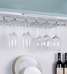 Wine Glass Rack Under Cabinet Hanging Stemware Holder Organizer Bar Hanger Hanging Wine Glass Rack, Wine Glass Shelf, Floating Glass Shelves, Glass Shelves Kitchen, Wine Glass Holder, Wine Storage, Hanging Storage, Extra Storage, Storage Ideas