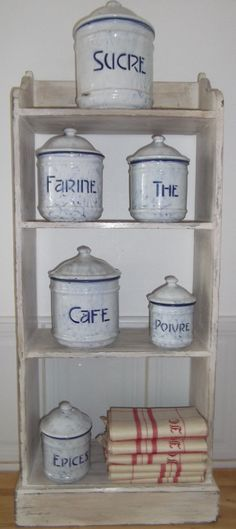 antique French ENAMELWARE  KITCHEN CANISTERS by vintagefrenchstyle, $148.00