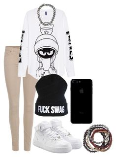"""""""Sem título #278"""" by alicehgrier ❤ liked on Polyvore featuring 7 For All Mankind, ASAP, NIKE, Garrard and Topman"""