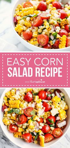 Easy Corn Salad Recipe - Light, fresh and full of flavor. This corn tomato salad has become a fast favorite and is made in just 20 minutes. The perfect salad to whip up all summer long! #salad #fresh #summer #easyrecipe #sidedish #delicious #homemade #tomatoes #recipe #iheartnaptime