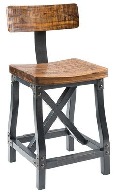 Features:  -Lancaster collection.  -Material: Solid acacia, metal back support, metal brackets and nails.  -Color: Amber/graphite.  -Graphite metal finish on wood legs.  -Counter height: No.  Frame Fi