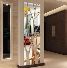 Mirror Wall Tiles, 3d Mirror, Acrylic Mirror, Wall Mirror Ideas, Mirror Vinyl, Wall Niches, Mirror Wall Decorations, Outdoor Wall Decorations, Iron Wall Decor