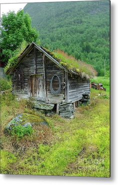 Sognefjord Barn Art Print by Norma Brandsberg. All prints are professionally printed, packaged, and shipped within 3 - 4 business days. Abandoned Houses, Abandoned Places, Old Houses, Crazy Houses, Old Cabins, Cabins In The Woods, Medieval, Roof Storage, Barn Art