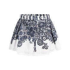 Jottum Girls White & Navy Lace Print Cotton Skirt