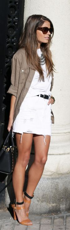 Sheinside White Fringe Ripped Denim Mini Skirt by Seams For a Desire