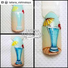 Marine manicure of 11 fashion trends - Fashion Pretty Nail Art, Beautiful Nail Art, Nail Art Cupcake, Food Nail Art, Sea Nails, Nail Techniques, Vacation Nails, Short Nails Art, Arte Floral
